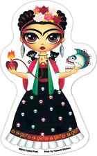 15934 Frida Cartoon Skull Heart Flowers Artist Transparent Sticker / Decal
