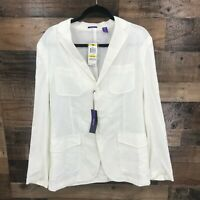 New American Rag Women's White Linen Blend Button Front Long Blazer Jacket Sz M