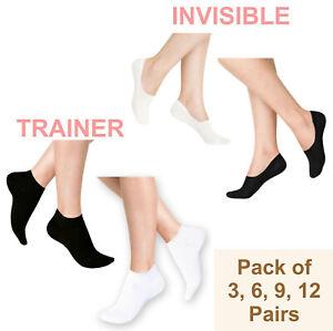Trainer Invisible Socks Sports Men Ladies Women Ankle Low Cut 100% Cotton Rich