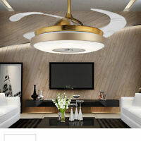 "42 ""Ceiling Fan Light Dimmable Chandelier Retractable w/Remote Control 3 color"