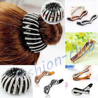 Womens Rhinestone PONYTAIL Hairpin Banana Hair Clip Comb Twist Fish Grip Slide