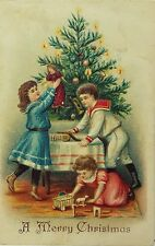 Early Christmas Postcard Victorian Children Toy Cannon, Sheep Pull, Doll, Blocks