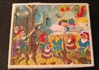 Vintage Snow White and the Seven Dwarfs Wood Block Puzzle Walt Disney Company