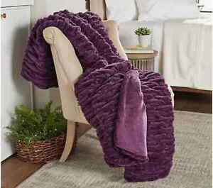"NWT Berkshire Blanket Northern Fur Violet Throw 50"" x 70"" Gift Box"