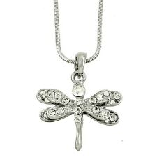 "Dragonfly Charm Pendant Fashionable Necklace - Sparkling Crystal - 17"" Chain"