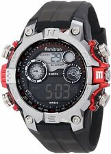 Armitron Sport Mens Digital Dial Red Accents Black Strap Watch 40/8251RED