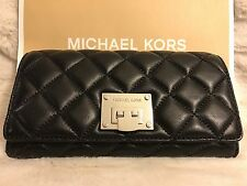 NWT MICHAEL KORS QUILTED LEATHER ASTRID CARRYALL WALLET IN BLACK/SILVER (SALE!!)