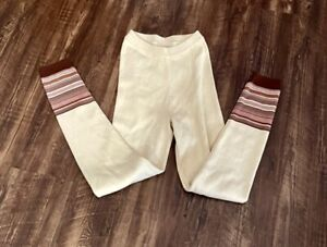 Free People Legging Sweater Pant Stretch Striped Cuffs Ivory Intimately S NEW