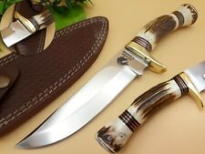 DRAGON WARRIOR CUSTOM & HANDMADE STAINLESS STEEL STAG ANTLER HUNTING KNIFE BOWIE
