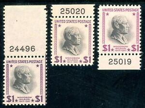 USAstamps Unused VF US $1 Presidential Plate # Set Scott 832, 832c, 832g OG MNH
