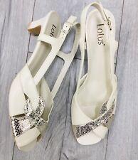 Lotus Size 8 Low Heel Cream Gold Sandals
