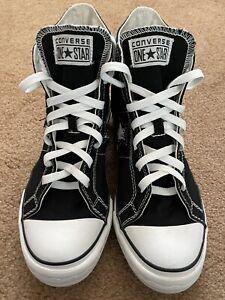 Converse One Star Black Hi Tops Shoes Men's 9 Black Canvas Excellent Free Ship📦