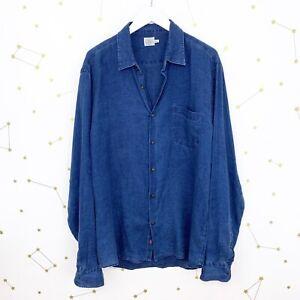Faherty Shirt Size XL Dark Indigo Blue Linen Laguna Button Down Long Sleeve