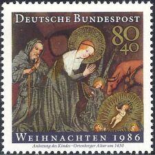 Germania 1986 Natale/Saluti/Natività/ARTE/PITTURA/Bovini/ASINO 1 V (g10107)