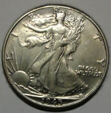 Almost uncirculated+ 1945 D Walking Liberty silver 50C half dollar NR auction!