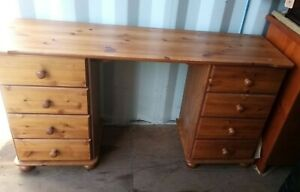Pine dressing table / desk with drawers 138x40x74 cm