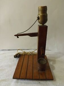 Vintage Wood Well Pump Electric Table Lamp LIGHT with no shade
