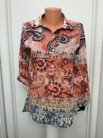 Chicos Blouse Paisley floral button Roll Up Long Sleeves cotton size 0