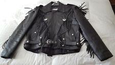 First Men's Leather Fringed Jacket  Sz. 46  Black