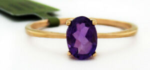 GENUINE 0.87 Cts AMETHYST SOLITAIRE RING 10K ROSE GOLD *** Free Certificate ***