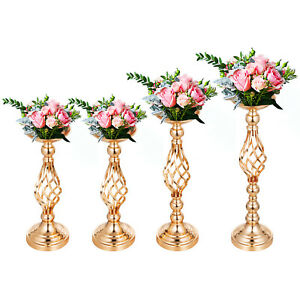 Flower Rack for Wedding Metal Candle Stand 4pcs Gold Centerpiece Flower Vase