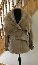 Ladies river island faux fur faux suede coat 10