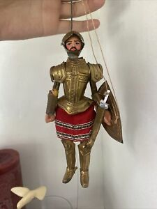 Antique Marionette Puppet Wearing Tin Knight Suit of Armor Vintage Europe