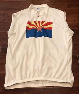 Vintage Voler Mens Arizona State Flag Logo White 3/4 Zip Cycling Jersey 3XL RARE