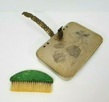 Vintage Hand Wrought Rodney Kent Floral Crumb Tray and Brush
