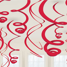 12 RED HANGING SWIRL PARTY DOORWAY DECORATION BIRTHDAY VALENTINES DAY SUPPLIES
