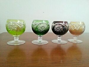 """Set 4 Bohemian Cut To Clear Brandy Snifter/Cordial Crystal Glasses  3 1/8"""""""
