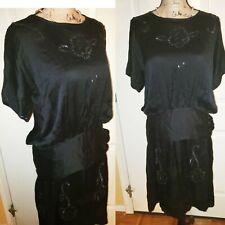 Vintage 1920s-Amazing Black Silky Beaded Flapper Low Waist Evening Dress tlc M/L