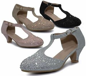 Girls Court Shoes Party Bridesmaid Glitter Diamante Wedding Low Heel T Bar Shoes