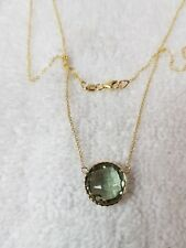 14k Yellow Gold Necklace With Green Amethyst Stones Lobster Lock 12mm Round Chec