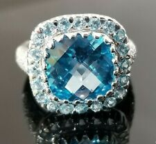 Fashion Checkered Aqua Blue Topaz Diamond 18k white gold ring