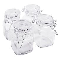 Square Glass Jars Hinge Lid Rubber Gasket Kitchen Storage Small Canister Jars