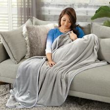 """Brookstone NAP Touch Throw Blanket - NEW - 50"""" x 70"""" - Light Gray - NEW"""