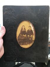1800's Embossed Vintage Antique Leather Bound Picture Frame Photograph On Wood