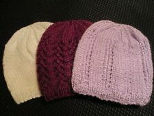 Newborn-3 months Baby Hats. Set of Three. Hand knitted. Lilac,White. Purple