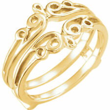 14K Yello Gold Solitaire Metal Ring Guard Wrap Enhancer Engagment Bridal Wedding