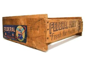 VINT FEDERAL FRUIT CO WOOD PEACH CRATE W/STAMPED INK, ORIG PAPER LABEL FRESNO CA