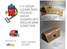 VACCUM CLEANER BAGS BEST PRICE PK OF 5 FOR ONLY 1.99 FITS MOST ROUND FIT 45MM