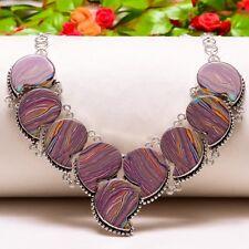 "Rainbow Calsilica Handmade Ethnic Style Jewelry Necklace 18"" N-569"