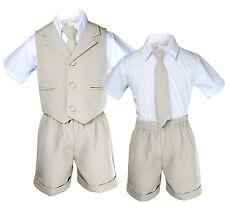 Baby Boy Toddler Wedding Formal Necktie Stone Tan Shorts Vest Set Eton Suit S-4T