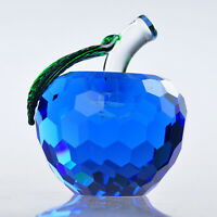 H&D Blue Crystal Apple Paperweight Glass Craft Ofiice Decoration Desktop Gift