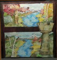 Painted Tapestry Painting Water Color Castle Nature Scene 35 x 35 River Mountain