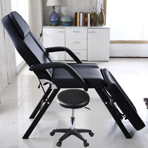 Black Massage Table - Beauty Salon Treatment Tattoo Couch Bed Chair with Stool