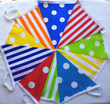 CANDY MULTI MIX Dots Stripes Fabric Bunting 30 FEET Red Orange Yellow Green Blue