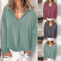 UK Womens Long Sleeve Casual Solid Tops Ladies V Neck Loose Shirts Pullover Plus