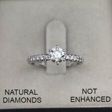0.70 CTW ROUND D SI1 NATURAL CLARITY DIAMOND ENGAGEMENT RING 14K WHITE GOLD